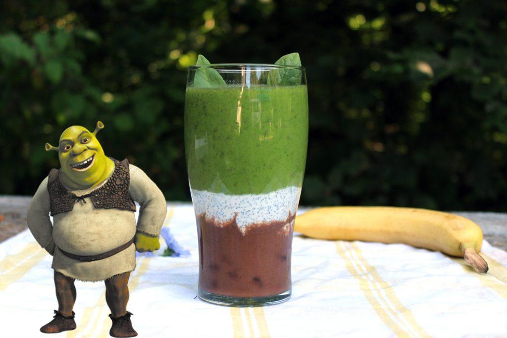 shrek smoothie zmešanček smuti s špinačo datlji banano