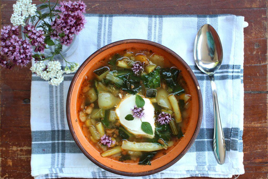 zelenjavna juha recept fižol bučke paprika korenje
