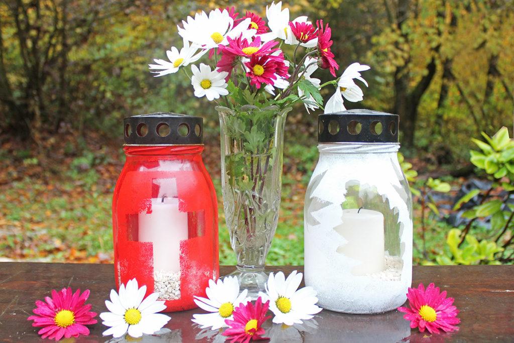 steklena nagrobna sveča plastična sveča za grob alternativa